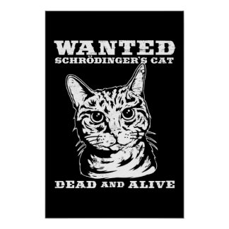 Schrodinger's cat wanted dead or alive print