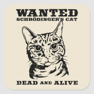 Schrodinger's cat wanted dead or alive square sticker
