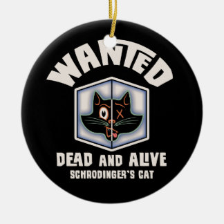 Schrodinger's Cat Wanted Double-Sided Ceramic Round Christmas Ornament