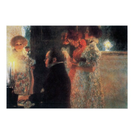Schubert at the piano by Gustav Klimt Poster