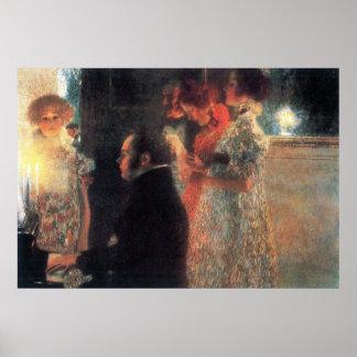 Schubert en el piano de Gustavo Klimt Poster