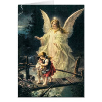 Guardian angel with two children on bridge