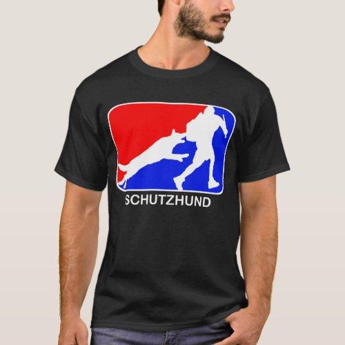 schutzhund  red and blue logo dark t_shirt