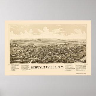 Schuylerville, mapa panorámico de NY - 1889 Posters