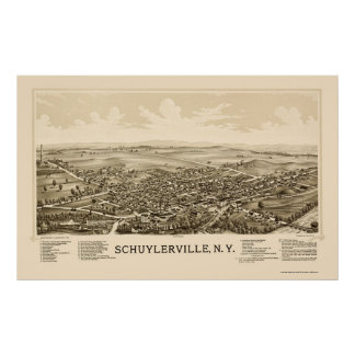 Schuylerville, NY Panoramic Map - 1889 Poster