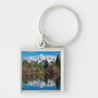 Schwabacher's Landing, Grand Teton Silver-Colored Square Keychain