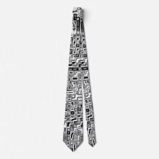 schwarz weiss Rechtecke black white rectangles Neck Tie