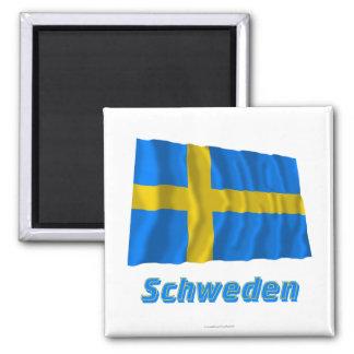 Schweden Fliegende Flagge mit Namen Magnet