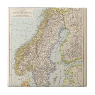 Schweden, Norwegen - Suecia y mapa de Noruega Azulejo Cuadrado Pequeño
