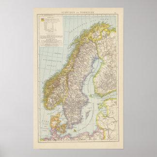 Schweden, Norwegen - Suecia y mapa de Noruega Póster