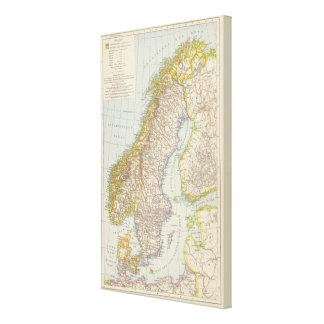 Schweden, Norwegen - Sweden and Norway Map Canvas Print