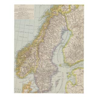 Schweden, Norwegen - Sweden and Norway Map Panel Wall Art