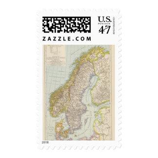 Schweden, Norwegen - Sweden and Norway Map Postage