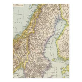 Schweden, Norwegen - Sweden and Norway Map Postcard