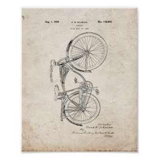 Schwinn Bicycle Patent - Old Look Poster