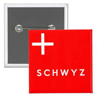 Schwyz province Switzerland swiss flag text name Buttons
