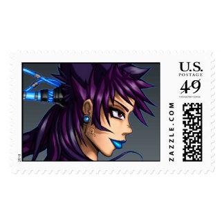 Sci-Fi Anime Girl Stamp