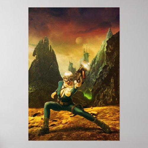 Sci-Fi Female Fighter on Strange Planet