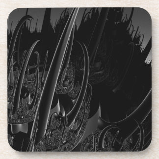Sci Fi Fractal in black and gray Drink Coasters