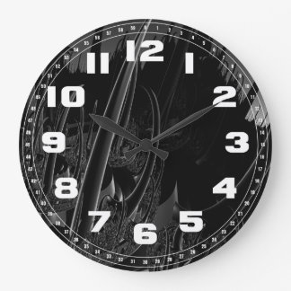 Sci Fi Fractal in black and gray Large Clock