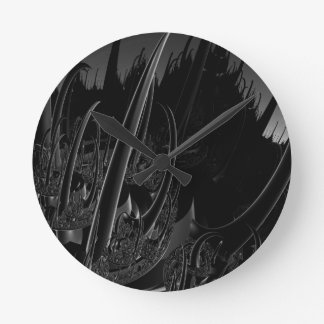 Sci Fi Fractal in black and gray Round Clock