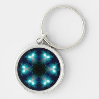 Sci-Fi Galaxy Blue Light abstract art 5 Silver-Colored Round Keychain