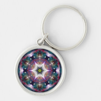 Sci-Fi Galaxy Light Abstract Art 3 Silver-Colored Round Keychain