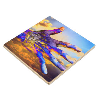 Sci-Fi Hand in the Sky Maple Wood Coaster