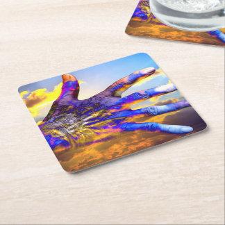 Sci-Fi Hand in the Sky Square Paper Coaster