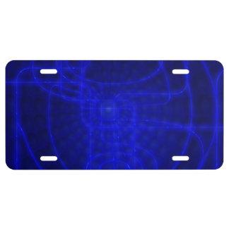 Sci-Fi Neon Circuits License Plate