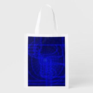 Sci-Fi Neon Circuits Reusable Grocery Bag
