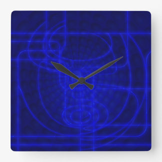 Sci-Fi Neon Circuits Square Wall Clock