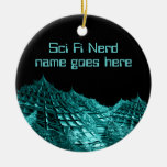 Sci fi nerd fantasy landscape ceramic ornament