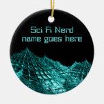 Sci fi nerd fantasy landscape christmas tree ornaments