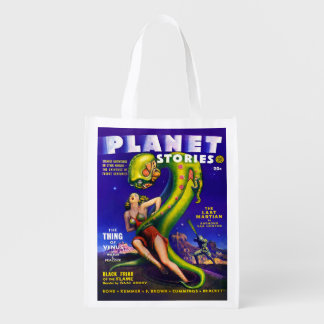 SCI FI PLANET STORIES COVER DESIGN GROCERY BAG