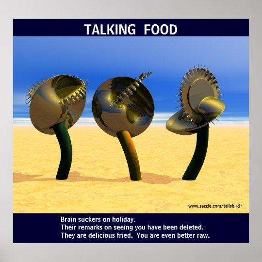 Sci-fi talking food poster