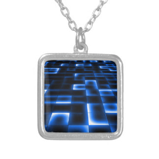 Sci Fi UFO Landing Pad Silver Plated Necklace