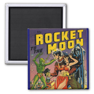 Sci Fi Vintage Comic Book Cover Art 2 Inch Square Magnet