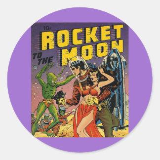 Sci Fi Vintage Comic Book Cover Art Classic Round Sticker