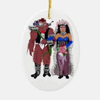sci-fi wedding 2 ceramic ornament