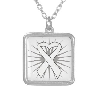 SCID Awareness Heart Ribbon Custom Necklace