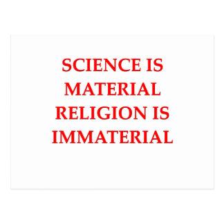 sciemce and religion postcard