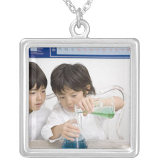 science 2 silver plated necklace