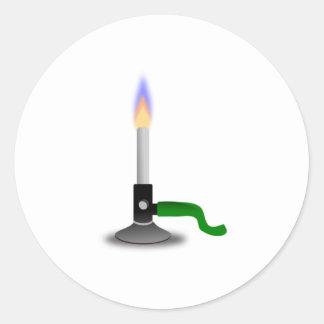 Science and Chemistry Bunsen Burner Round Sticker