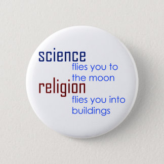 science and religion pinback button