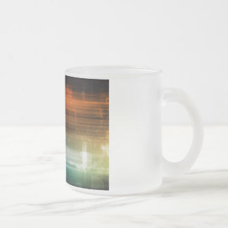 Science Background With Glowing Techno Lines Art Frosted Glass Coffee Mug