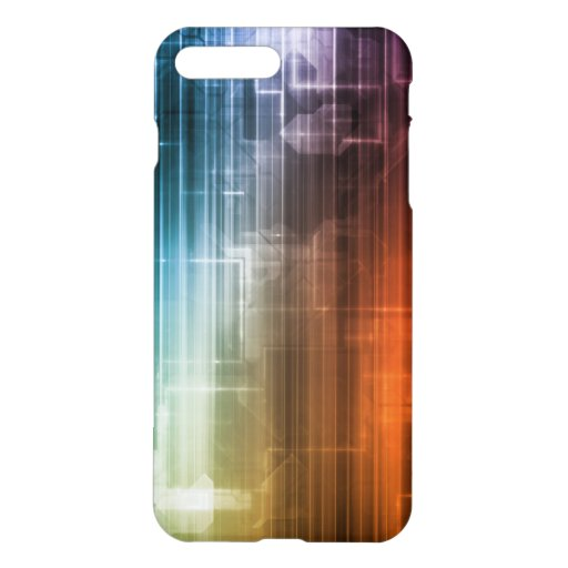 ... Background With Glowing Techno Lines Art iPhone 7 Plus Case : Zazzle