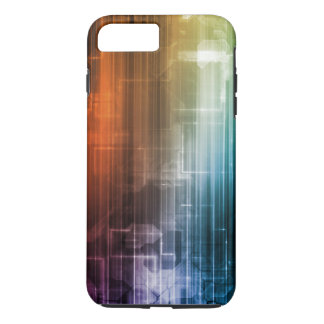 Science Background With Glowing Techno Lines Art iPhone 8 Plus/7 Plus Case