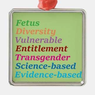 Science based and other banned words metal ornament