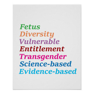 Science based and other banned words poster